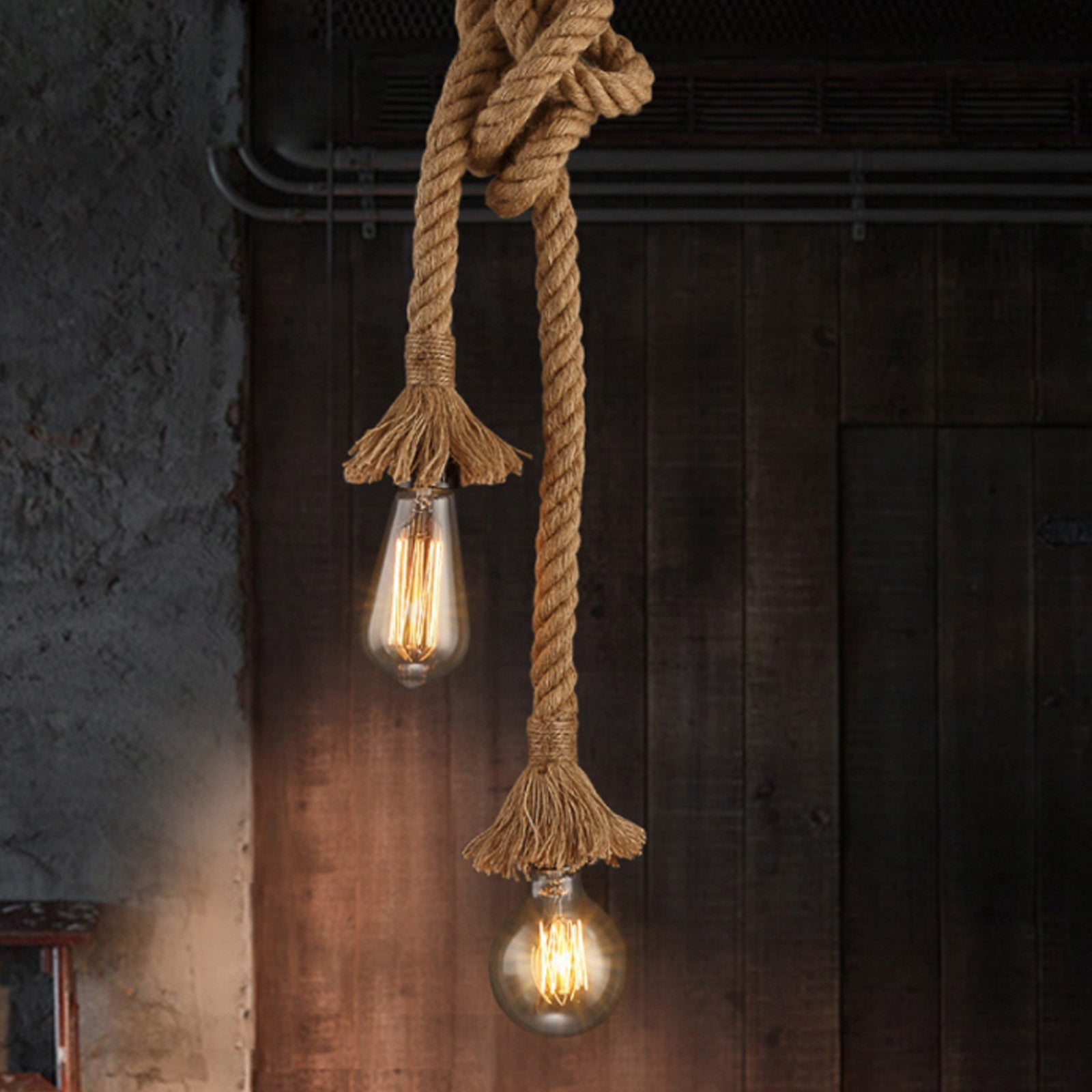 2 heads Hemp rope pendant Lamp CY-DD-123 -  2 رأس مصباح الحبل المعلق - Shop Online Furniture and Home Decor Store in Dubai, UAE at ebarza