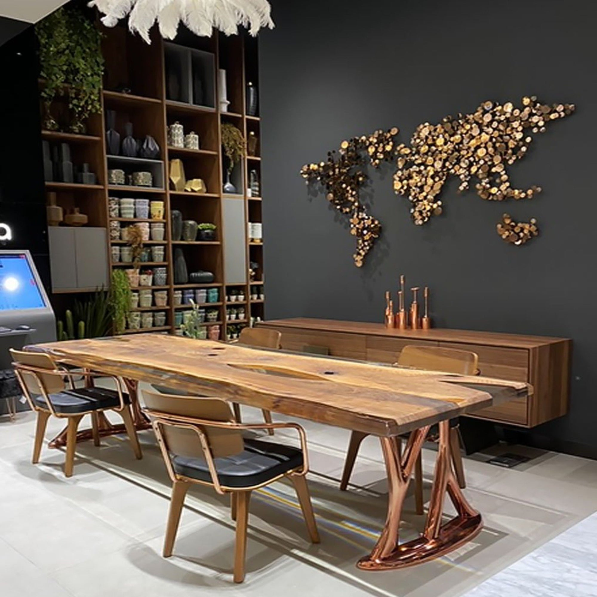 Pre-Order 50 days delivery 350X100 CM LIVE EDGE RESIN DINING TABLE TOP SAN350X100 - ebarza