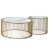 Set of 2 Natural Marble & Stainless Steel Table KAR018 BP8808 G.W