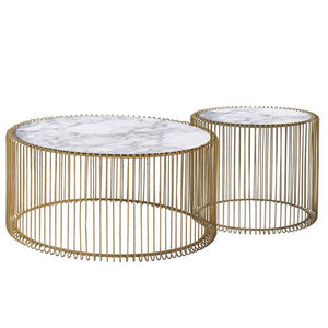 Set of 2 Natural Marble & Stainless Steel Table BP8808 G