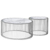 set of 2 Natural Marble & Stainless Steel Table BP8808 S