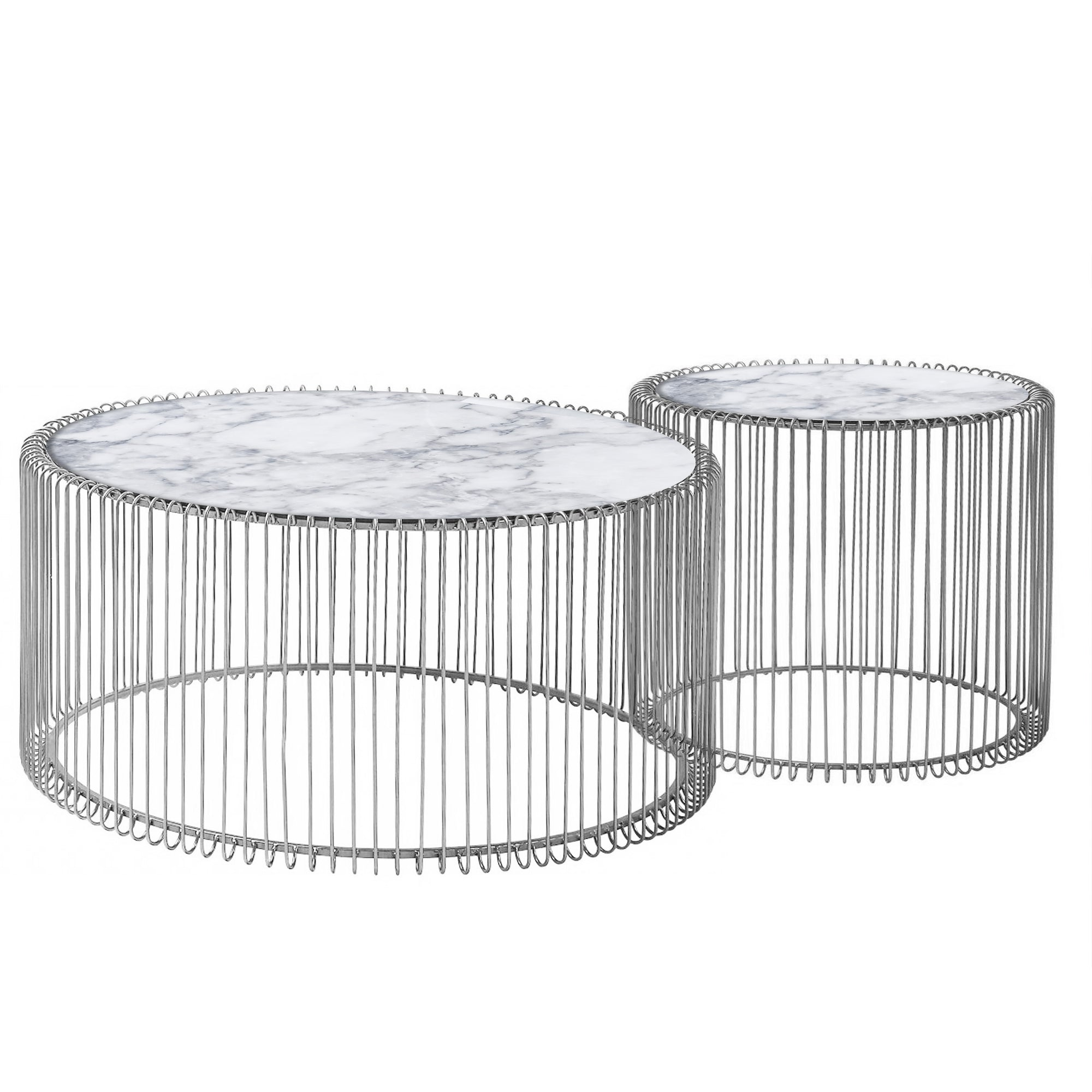 set of 2 Natural Marble & Stainless Steel Table BP8808 S-C 45+90 -  طقم من 2 طاولة رخام طبيعي وستانلس ستيل - Shop Online Furniture and Home Decor Store in Dubai, UAE at ebarza
