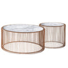 Set of 2 Natural Marble & Stainless Steel Table BP8808 RG