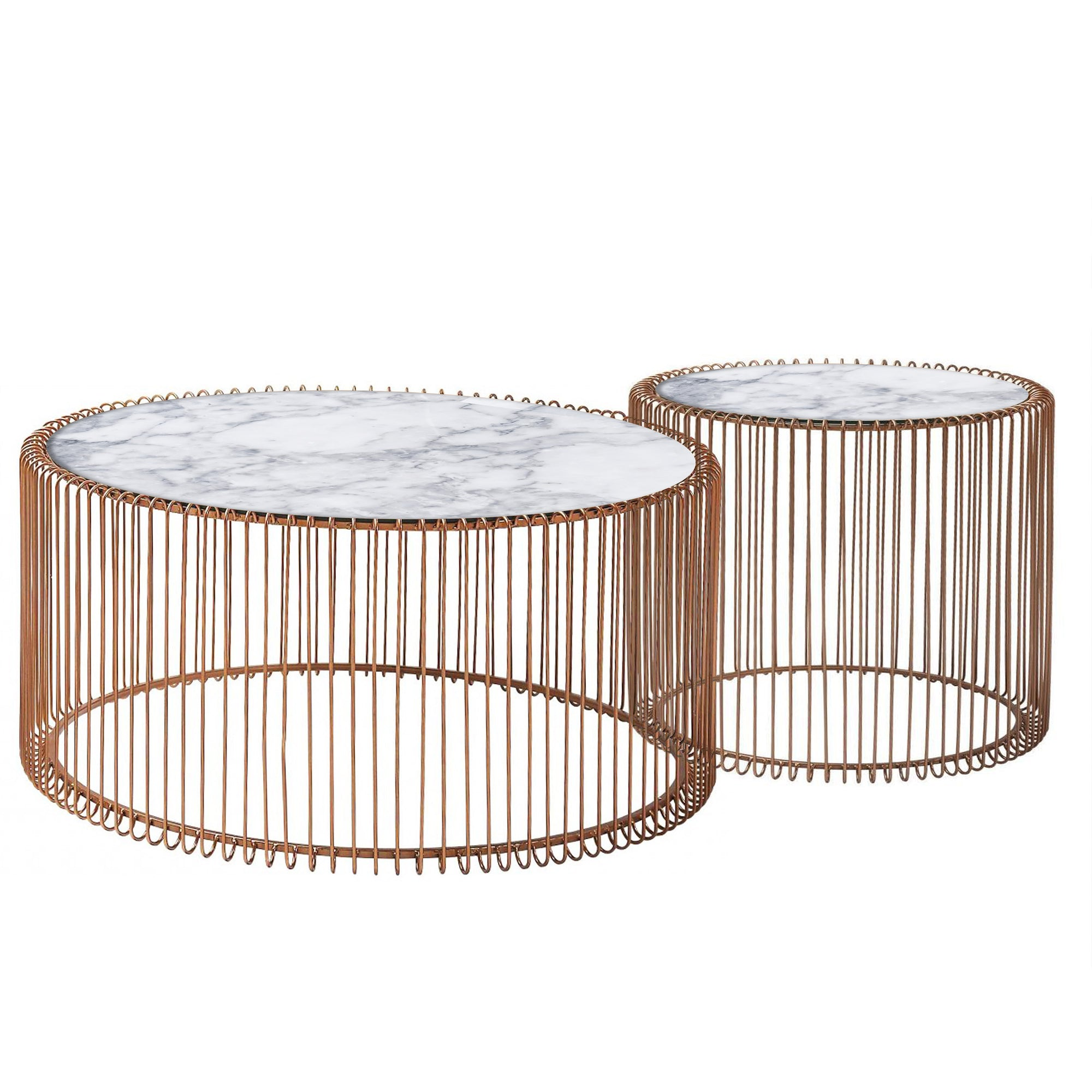 Set of 2 Natural Marble & Stainless Steel Table BP8808 RG -  طقم من 2 طاولة رخام طبيعي وستانلس ستيل - Shop Online Furniture and Home Decor Store in Dubai, UAE at ebarza