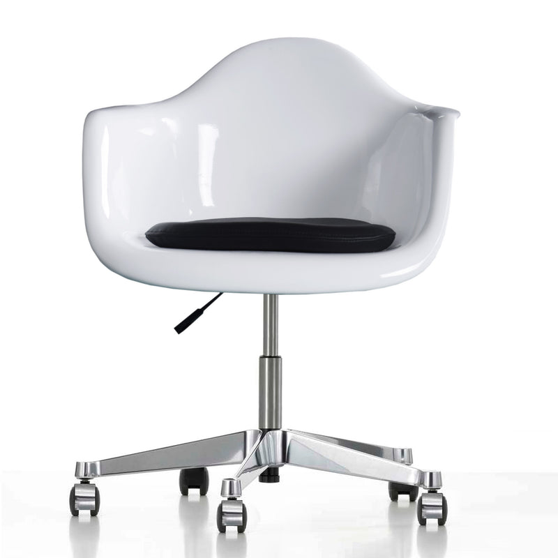 office chair genuine leather white. Office Chairs - Classic Fiberglass Chair With Genuine Leather Pad BP8007FW-FW White