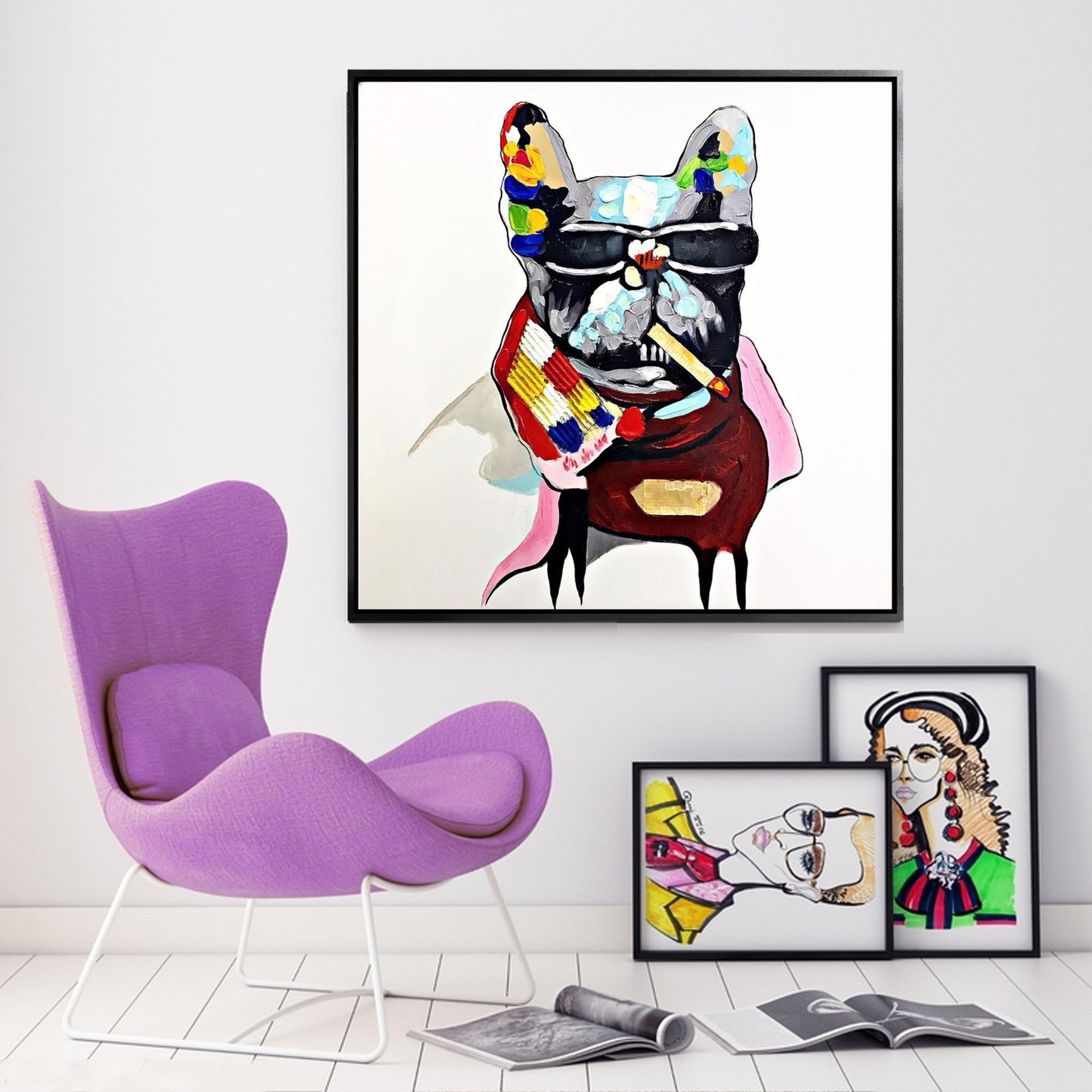 Painting - Handpainted Art Painting With Aluminum Frame 105x105cm PND006