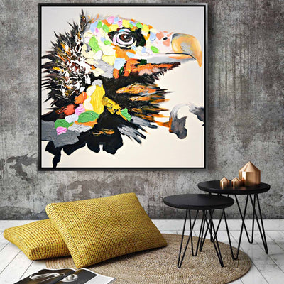 Painting - Handpainted Art Painting With Aluminum Frame 105x105cm PNF007