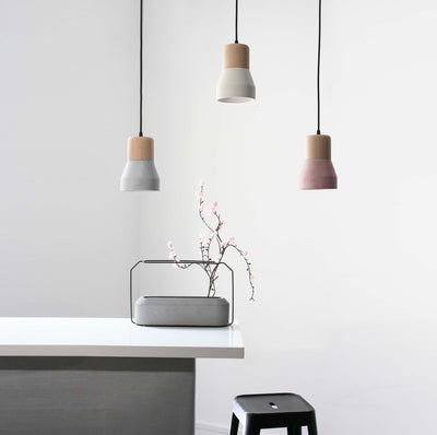 Pendant Lamp - Concrete And Wood  Lamp BP0686W+BE