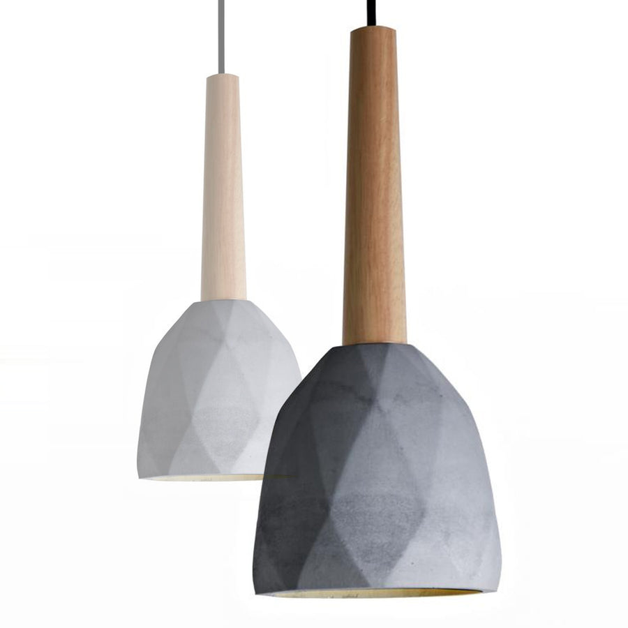 Pendant Lamp - Convex Concrete And Wood  Lamp Large  BPMT11-BNXL
