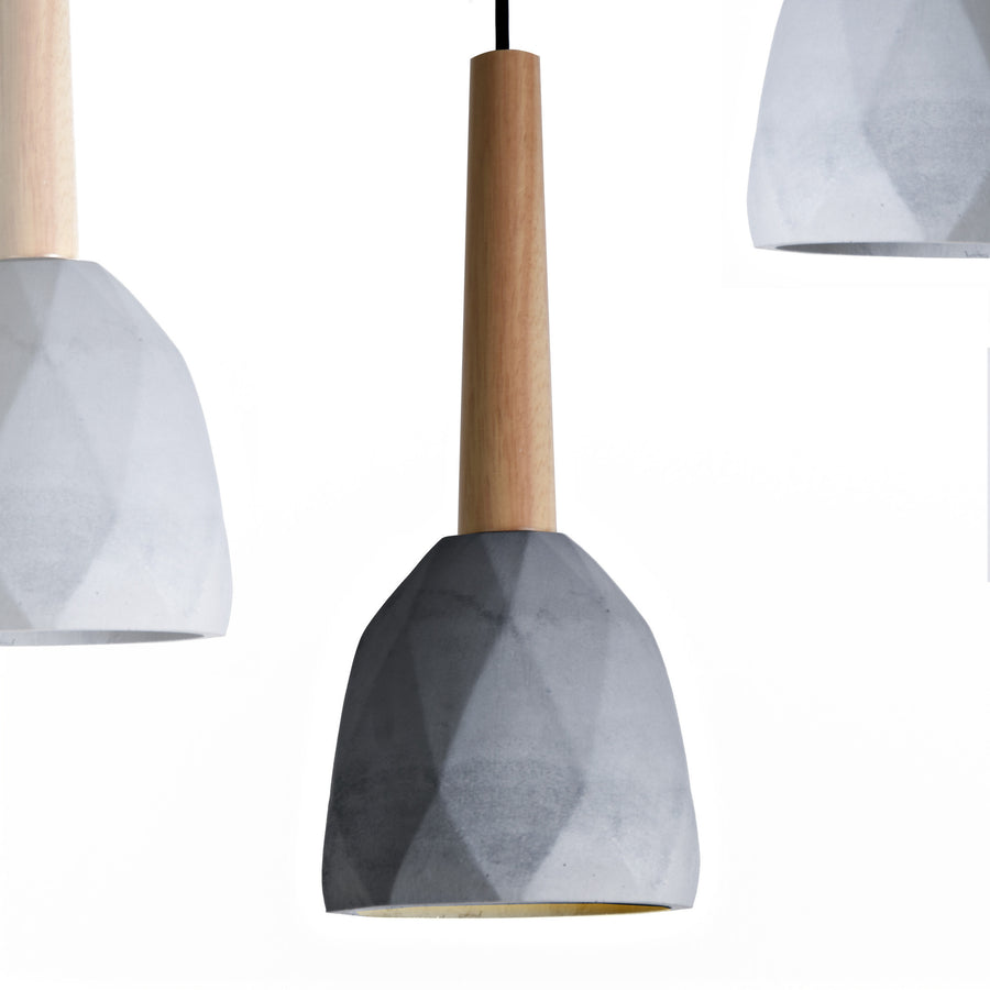 Pendant Lamp - Convex Concrete And Wood  Lamp Medium  BPMT11-BN