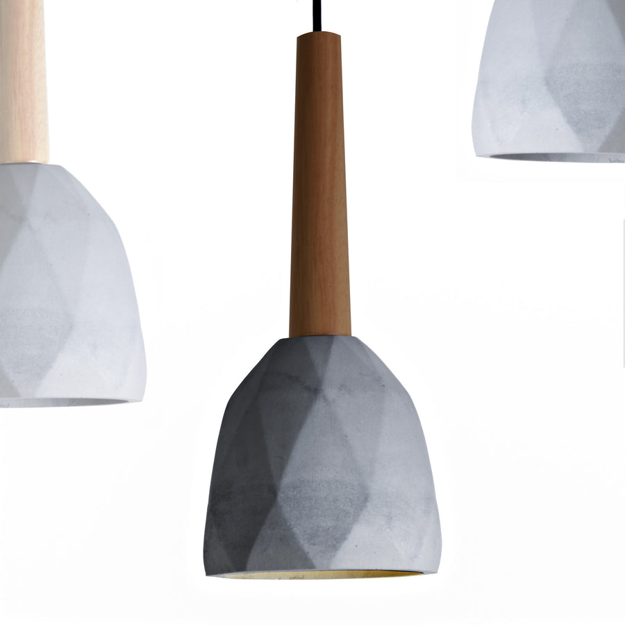 Pendant Lamp - Convex Concrete And Wood  Lamp Medium BPMT11-BW