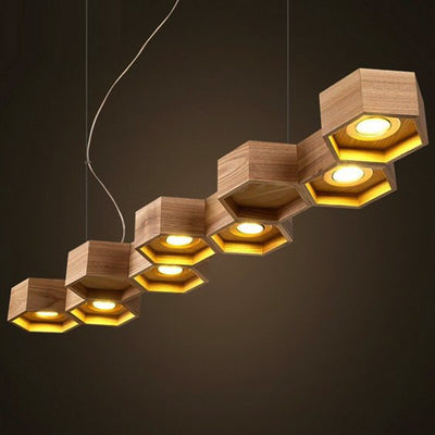 Pendant Lamp - Honeycomb Solid Wood Pendant Lamp With LED Bulbs BP0687-9N