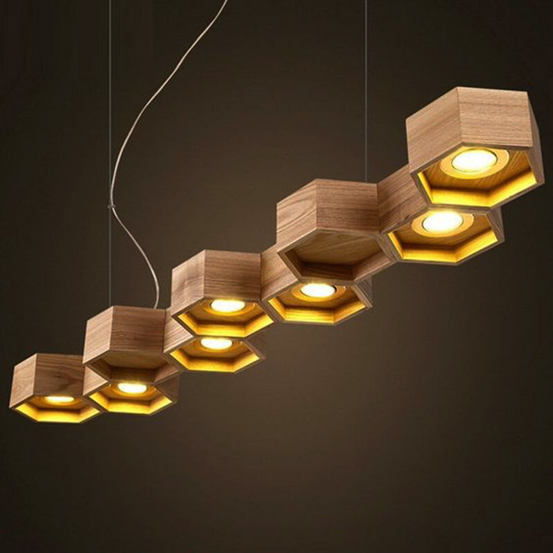 Honeycomb oak wood chandelier ebarza furniture lightings rugs pendant lamp honeycomb solid wood pendant lamp with led bulbs bp0687 9n mozeypictures Images