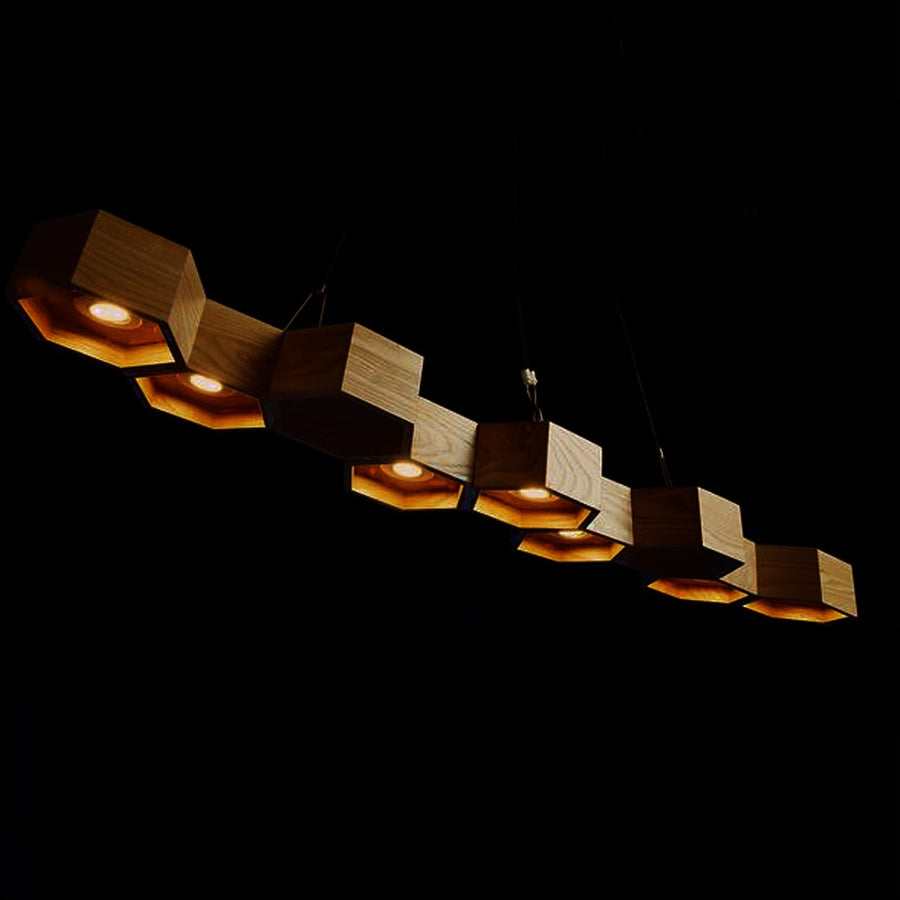 Pendant Lamp - Honeycomb Solid Wood Pendant Lamp With LED Bulbs BP0687-9W