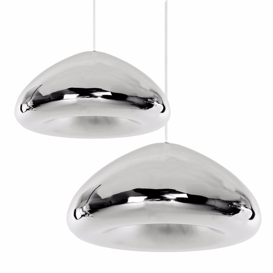 Pendant Lamp - Set Of 2 Chrome Glass Pendant Lamps  BP0183-CSET