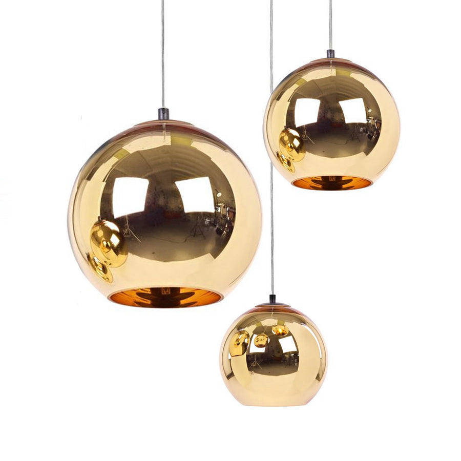 Pendant Lamp - Set Of 3 Golden Glassball Pendant Lamp  BP0184-SET