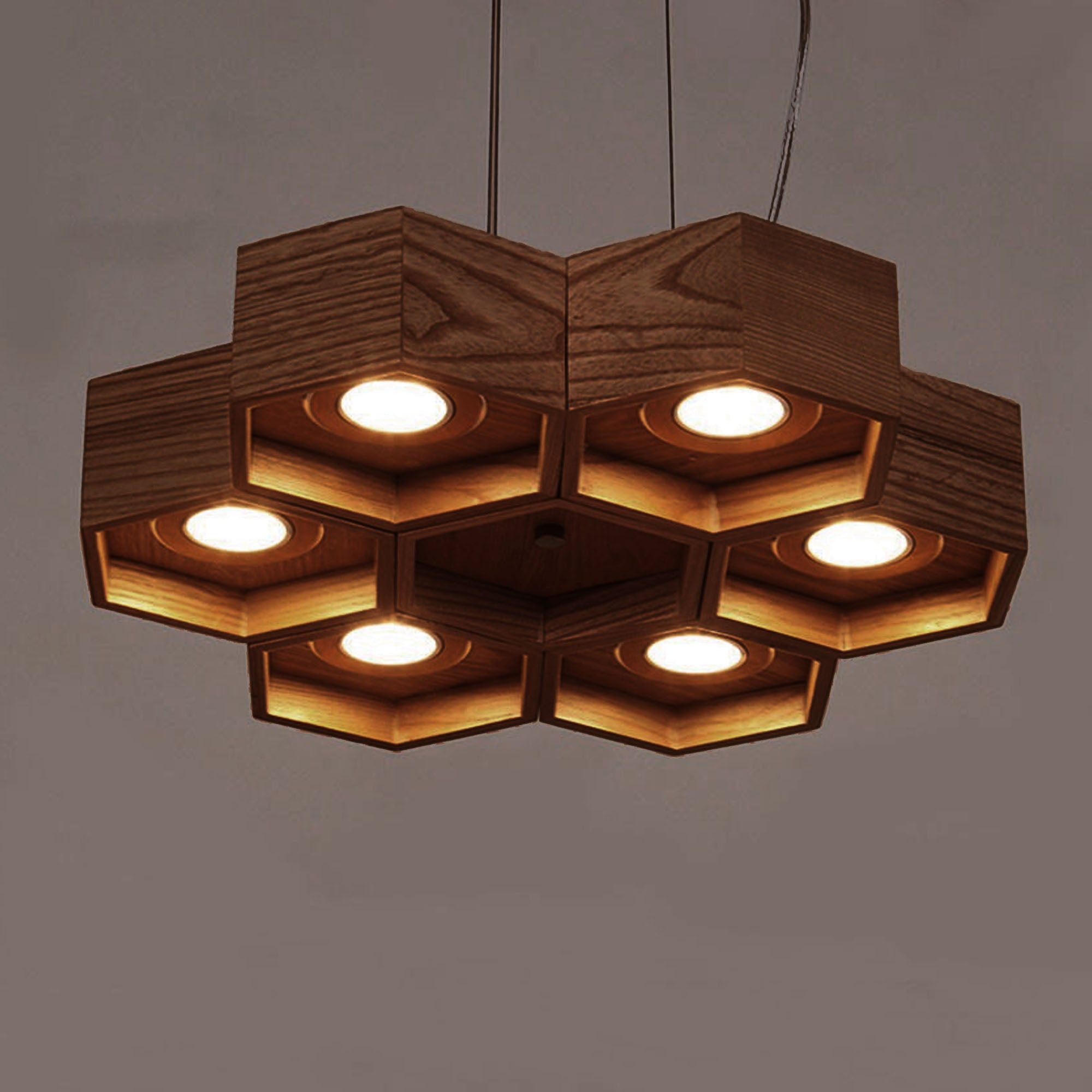 Honeycomb Solid Wood Pendant Lamp with LED Bulbs BPMT26-W