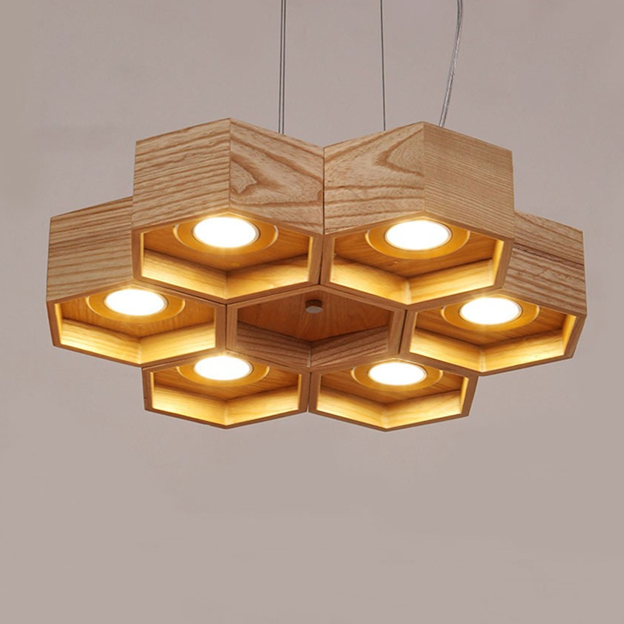 honeycomb Solid Wood pendant lamp with LED bulbs BPMT26-N