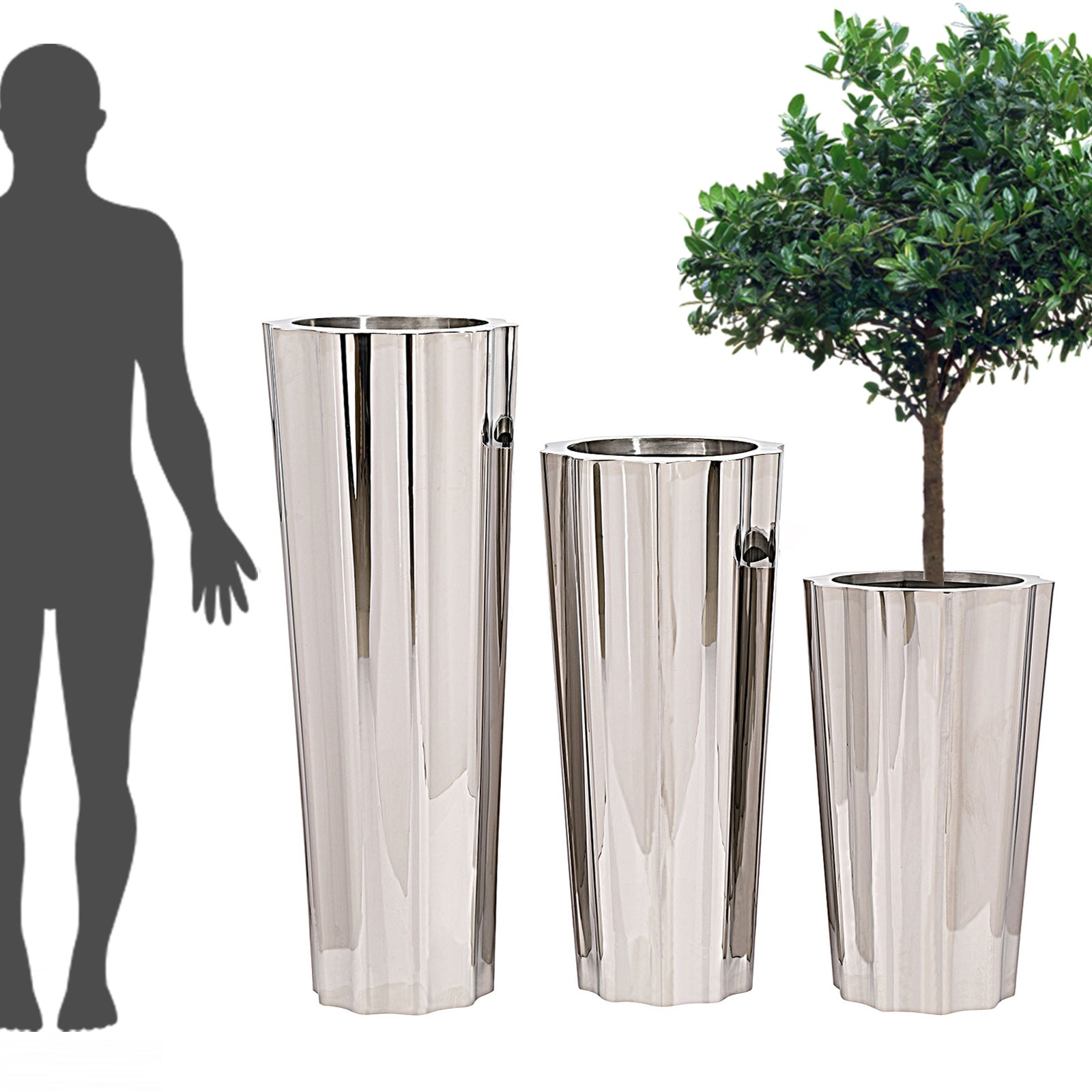 Set of 3 large Handmade  Stainless steel  planter box  JKS063-64-65