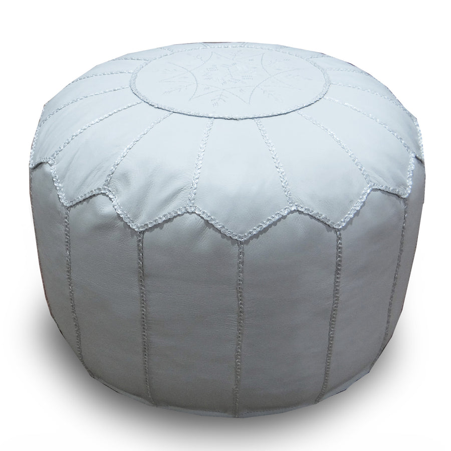 handmade genuine leather Moroccan style pouf Pouf morocco-white