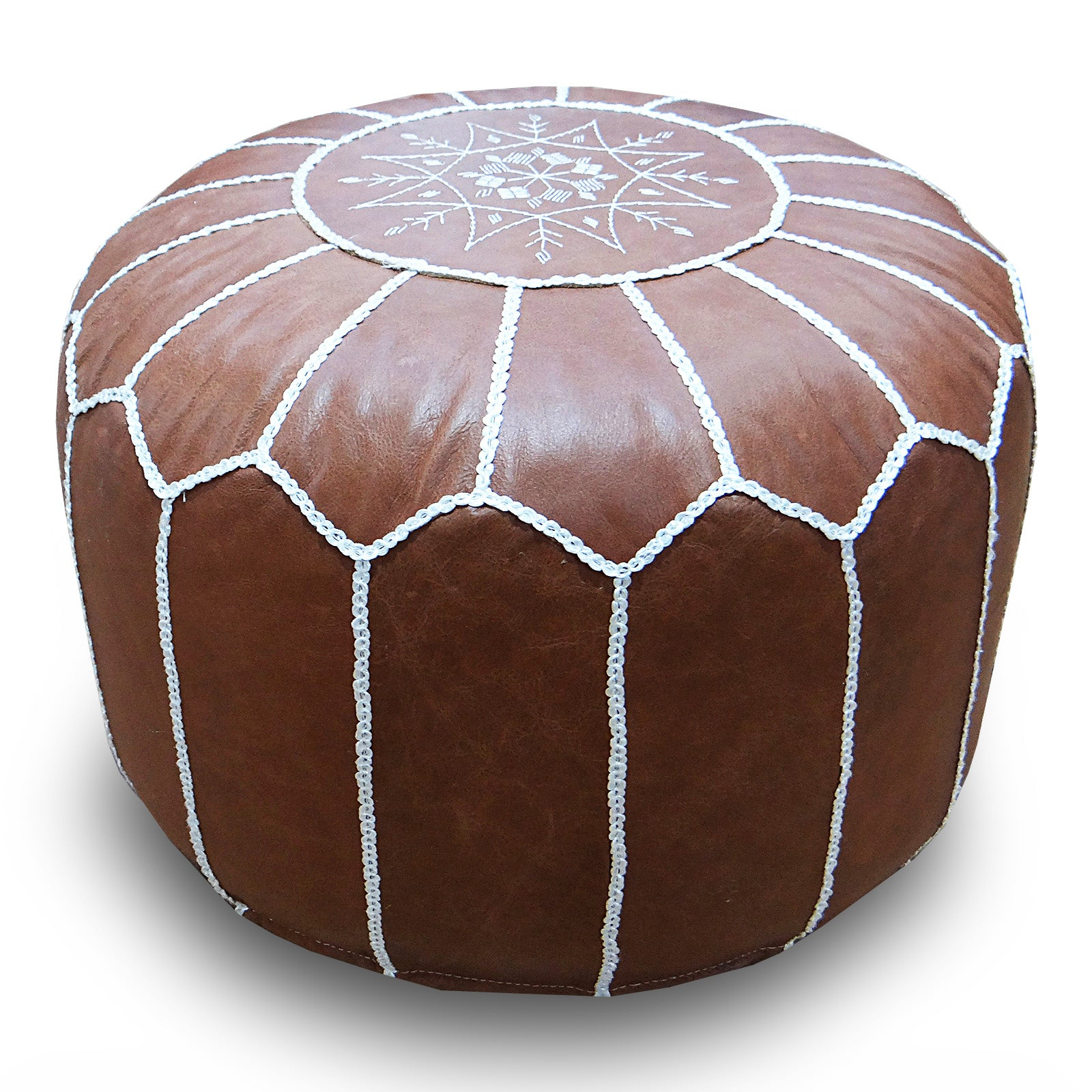 handmade genuine leather Moroccan style pouf Pouf morocco-brown