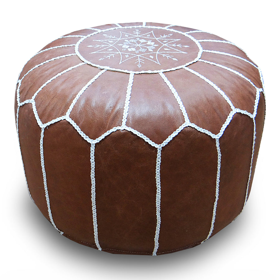 handmade genuine leather Moroccan style pouf Pouf morocco-caramel