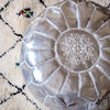 handmade genuine leather Moroccan style pouf Pouf morocco-silver