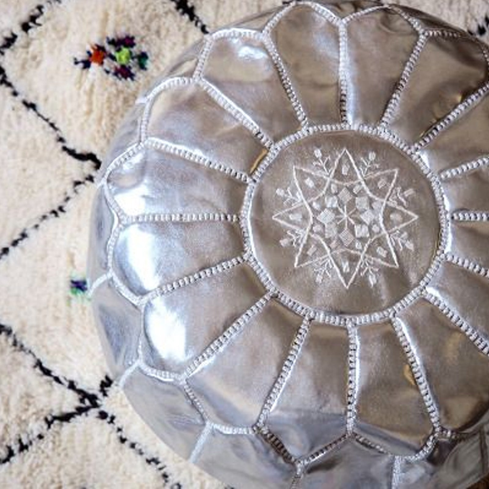 Handmade Genuine Leather Moroccan style Pouf morocco-silver -  بوف جلد طبيعي مصنوع يدويًا على الطراز المغربي - Shop Online Furniture and Home Decor Store in Dubai, UAE at ebarza