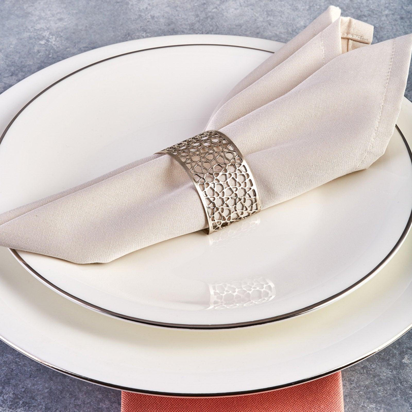 Karaca Seljuk Small 6-Piece Napkin Ring Set Silver 153.19.01.1489