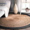 D150cm Braided Round handmade Wool Rug Jute Braided-L