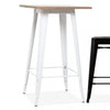 Industrial bar table with solid wood top 60 cm GT-248U-W+N