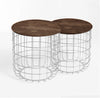 Set of 2 wire tables with Solid wood top BP8806W-W