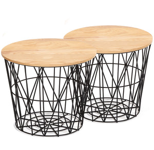 Set of 2 wire tables with Solid wood top BP8807B
