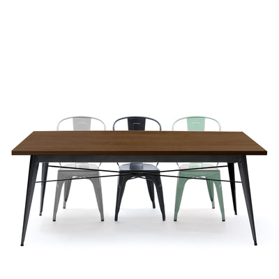 Industrial table with solid wood top 180 cm BPTT180+BW