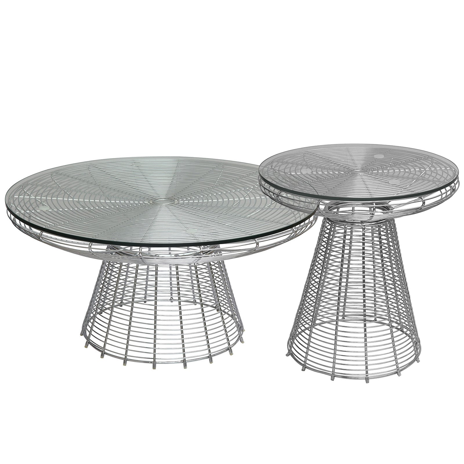 Wire table& glass top  BP8081-C - ebarza
