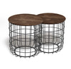 Set of 2 wire tables with Solid wood top BP8806B-W