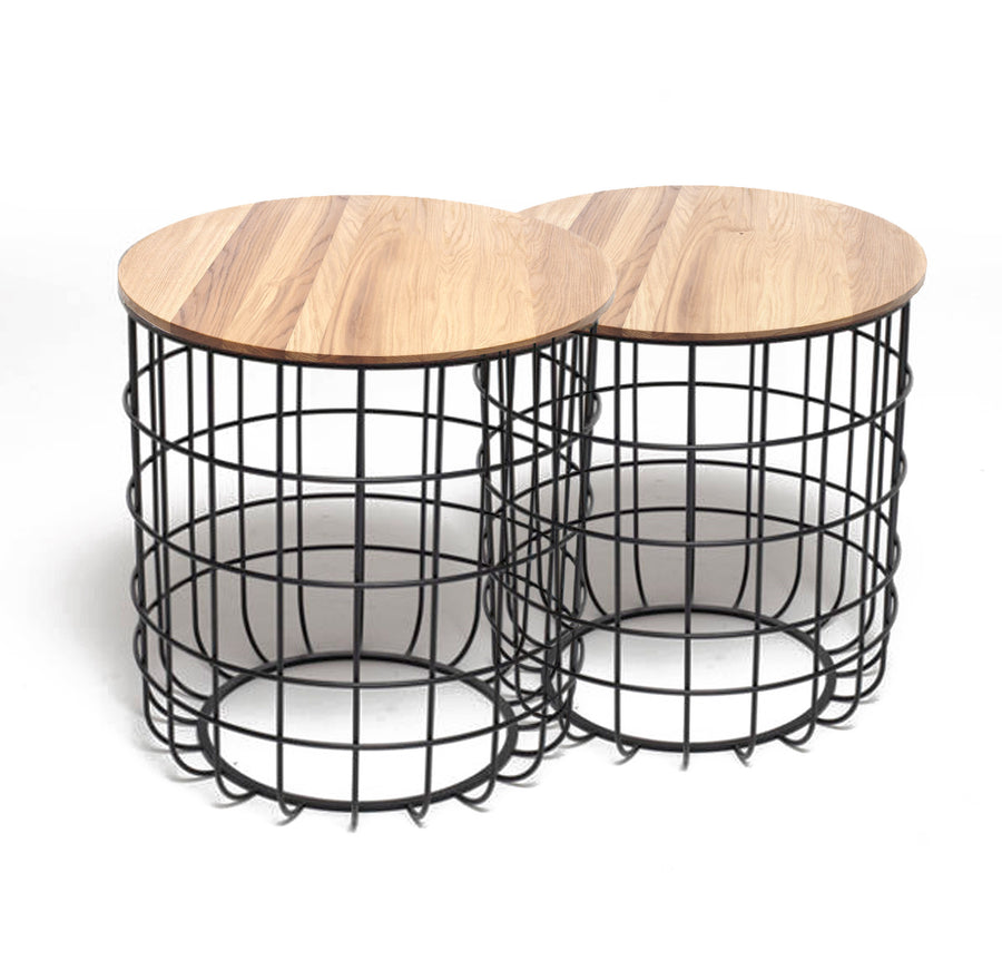 Set of 2 wire tables with Solid wood top BP8806B