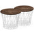 Set of 2 wire tables with Solid wood top BP8807W-W