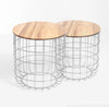 Set of 2 wire tables with Solid wood top BP8806W