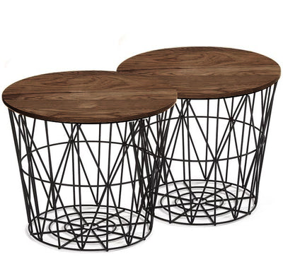 Set of 2 wire tables with Solid wood top BP8807B-W