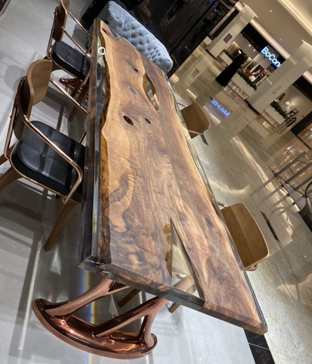 240X100 CM LIVE EDGE RESIN DINING TABLE TOP SAN240X100