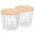 Set of 2 wire tables with Solid wood top BP8807W