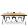 Industrial table with solid wood top 180 cm BPTT180+SN