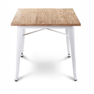 Industrial table with solid wood top 80 cm GT-236U-W+N