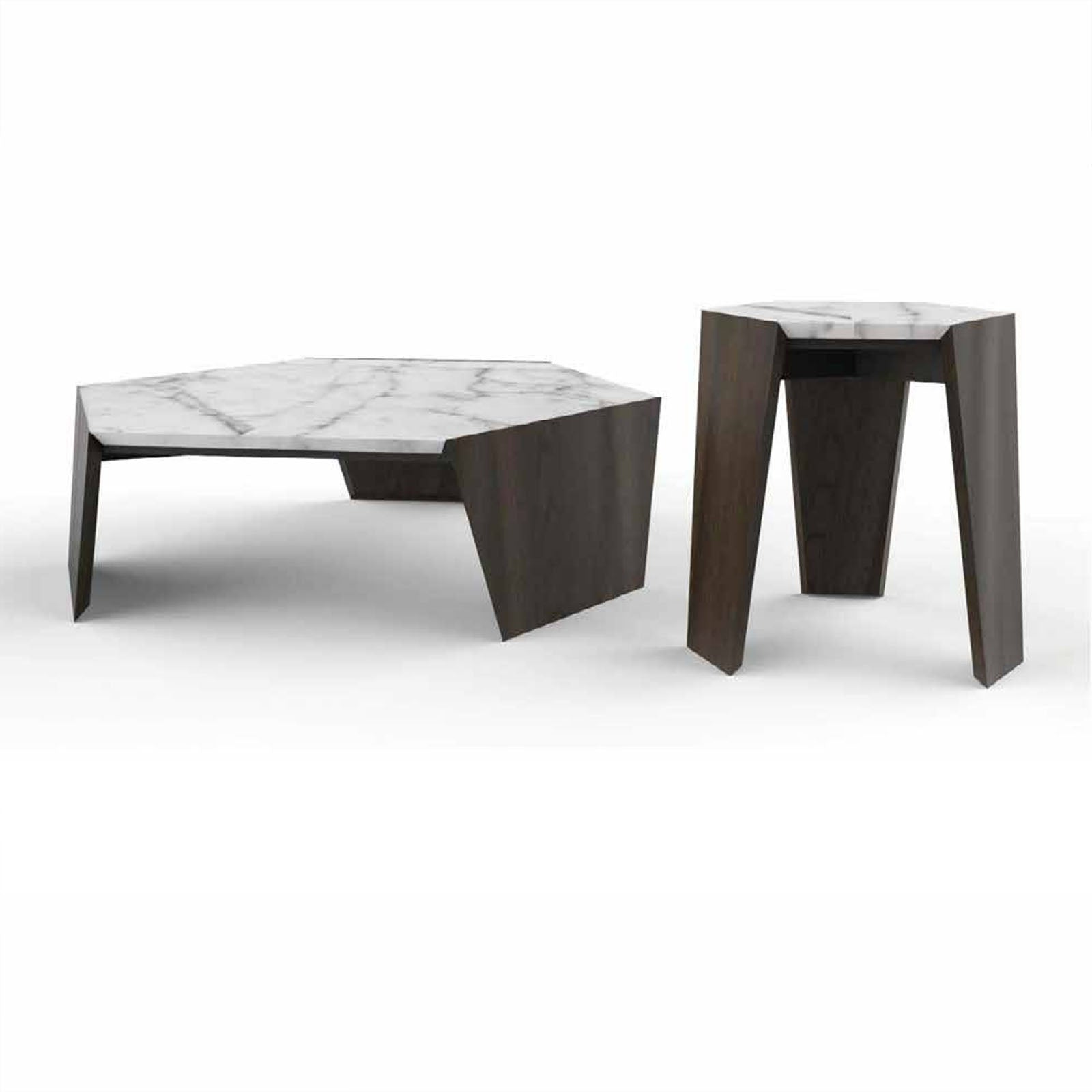 Set of 2  Natural marble side table  256CT+256ST