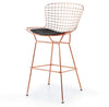 Wire Bar Stool & genuine leather cushion BP8601-RG - ebarza