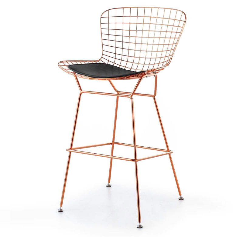 Wire Bar Stool & PU Leather Cushion BP8601-RG -  كرسي سلك بار والوسادة جلديه - Shop Online Furniture and Home Decor Store in Dubai, UAE at ebarza