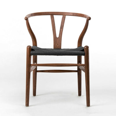 Dining Chair Solid ash wood and Black Natural Cord Seat HW 00425W - ebarza