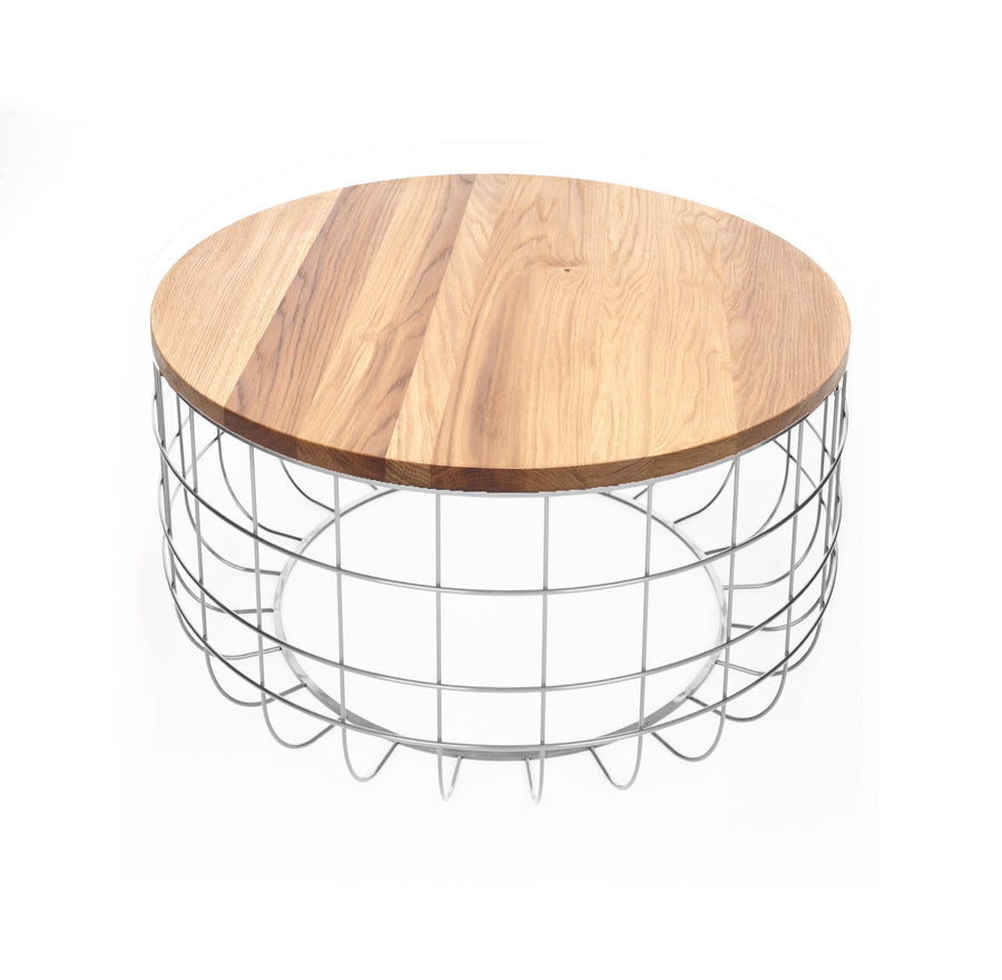 Wire table with Solid wood top BP8805W - ebarza
