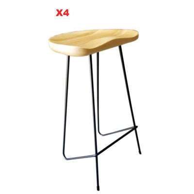 Set of 4 Solid Wood Bar Stool WS-034E